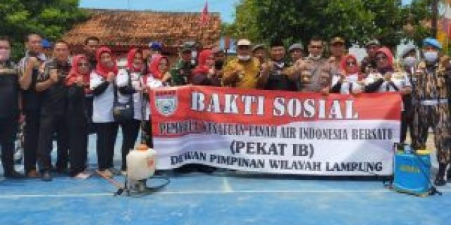 Ditengah Wabah Covid-19, DPW Lampung PEKAT IB Lakukan Kegiatan Penyemprotan Desinfektan di Desa Sukanegara, Tanjung Bintang