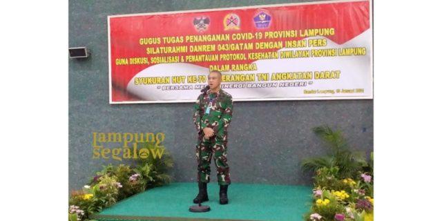 Danrem 043/Gatam Sosialisasikan Penerapan Prokes Bersama Insan Media