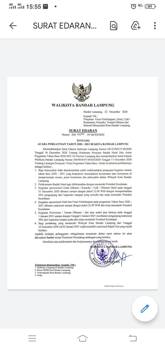 Pemkot Keluarkan Surat Edaran Larangan Perayaan Nataru