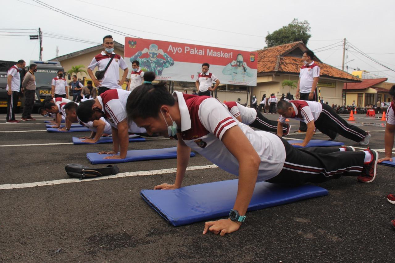 Bagsumda Polresta Bandar Lampung Gelar Tes Kesamaptaan Jasmani Berkala
