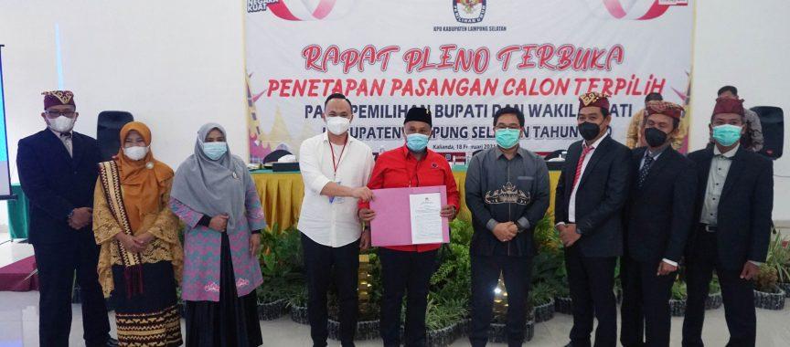 KPU Tetapkan Nanang-Pandu Sebagai Bupati dan Wakil Bupati Lampung Selatan Terpilih
