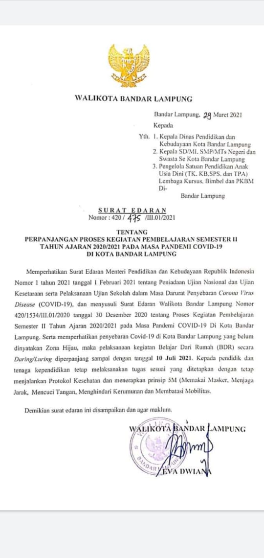 Pemkot Bandar Lampung Perpanjang Kegiatan Sekolah Daring/Luring