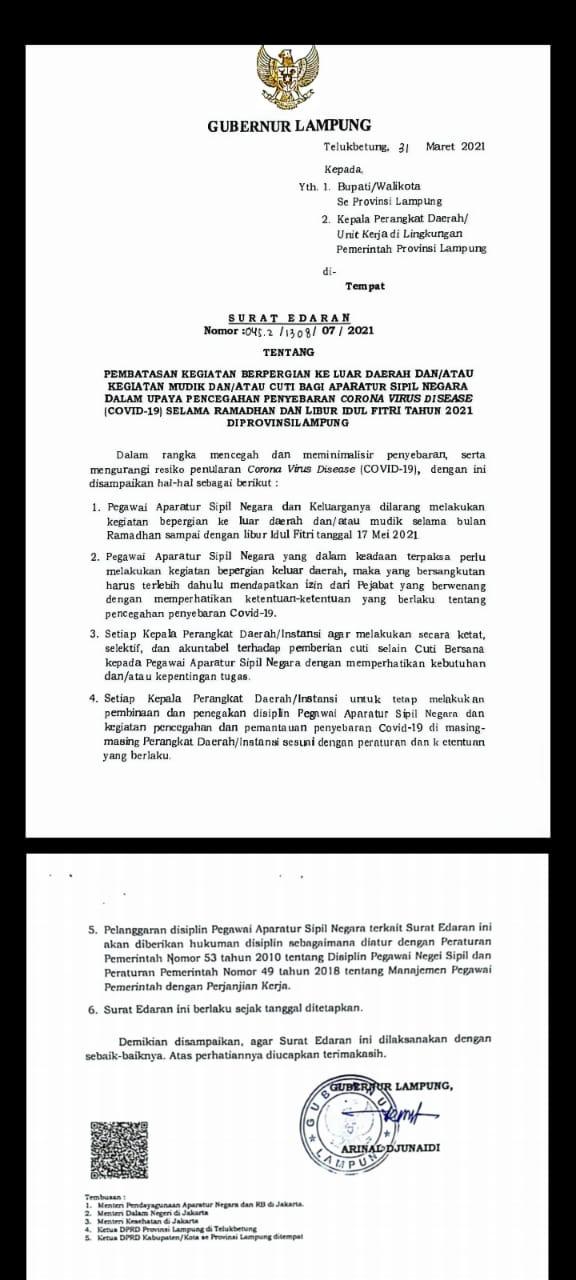 Pemerintah Provinsi Lampung Terbitkan Surat Edaran Larang ASN Mudik
