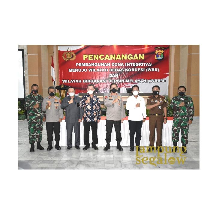 Kasrem 043/Gatam Hadiri Pencanangan Zona Integritas WBK dan WBBM Jajaran Polda Lampung Tahun 2021