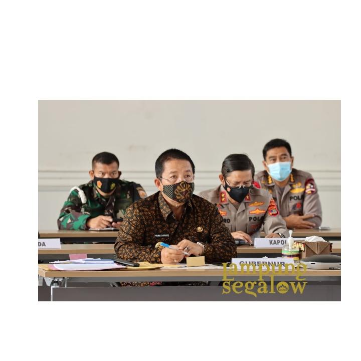 Gubernur Lampung Arinal Djunaidi Lakukan Rapat Koordinasi Penegakan Disiplin Protokol Kesehatan Jelang Hari Raya Lebaran