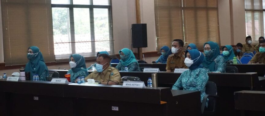 Bupati Lampung Selatan Menghadiri Pembukaan Rakerda PKK 2021 provinsi Lampung Melalui Zoom Metting